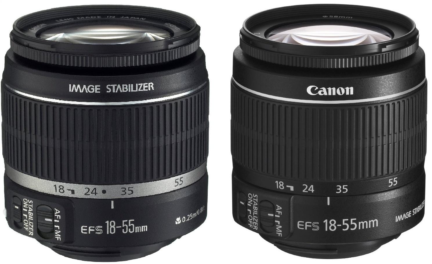Preiswert und gut: Das Canon EF-S 18-55mm 1:3.5-5.6 IS Objektiv (1. Variante links, 2. Variante rechts)