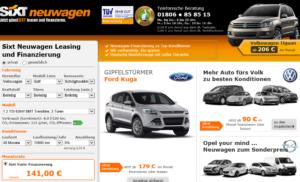 Bei SIXT können Sie jetzt auch Autos leasen bzw. finanzieren (Screenshot (c) SIXT)